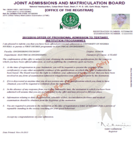 JAMB Admission Letter Printing Procedure