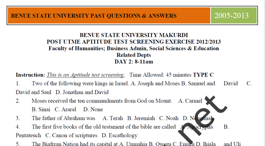 BSU Post UTME Sample Questions and Answers