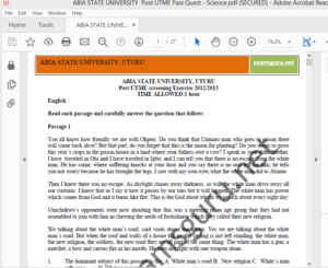 ABSU Post UTME Sample Questions and Answers