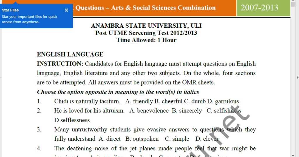 COOU ANSU Post UTME Sample Questions and Answers