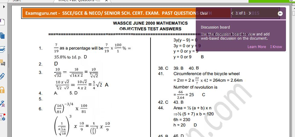 WAEC Sample Questions and Answers