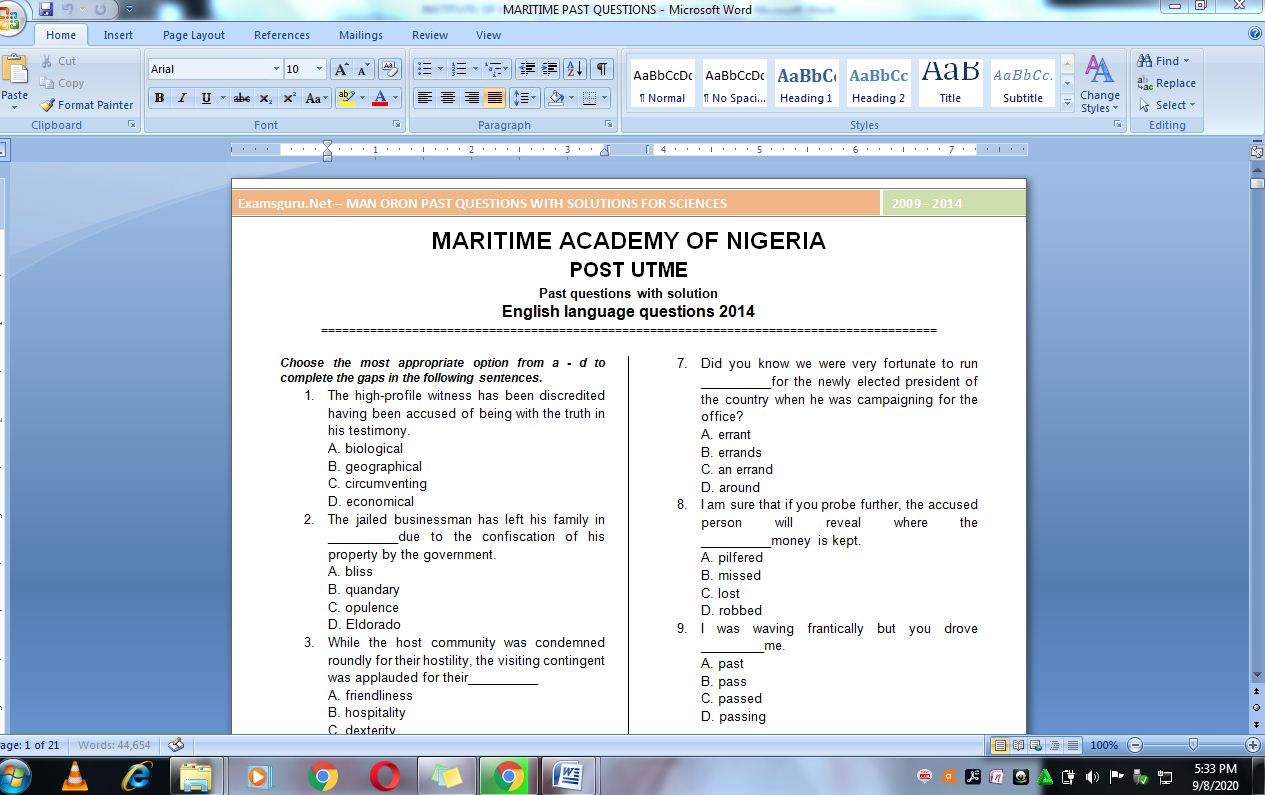 NMU Post UTME Past Questions and Answers
