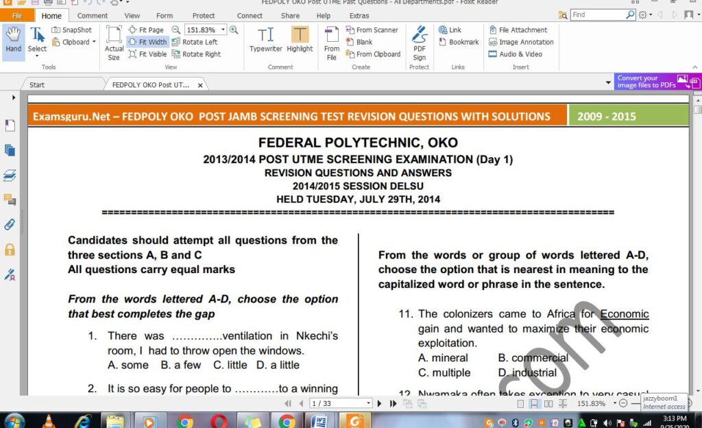 Federal Poly Oko Post UTME Past Questions and Answers