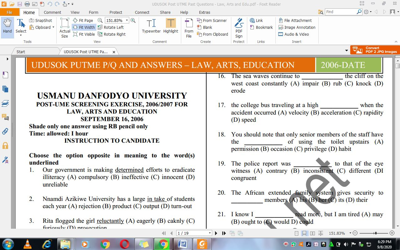 UDUSOK Post UTME Past Questions and Answers