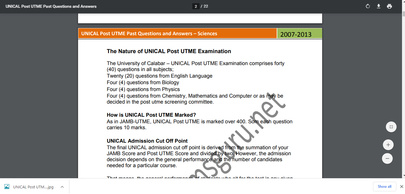 UNICAL Post UTME Past Questions and Answers