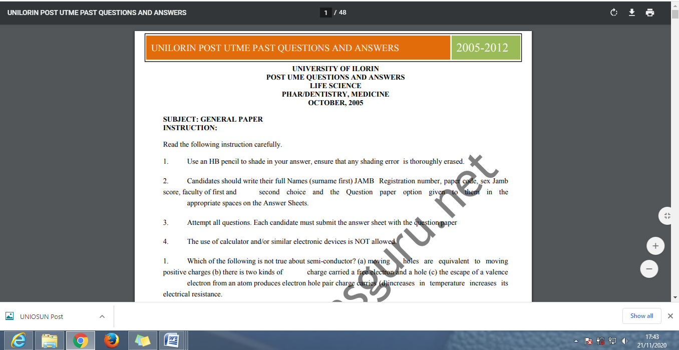 UNILORIN Post UTME Past Questions and Answers PDF